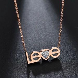 18k Rose GP CZ 'LOVE' Necklace